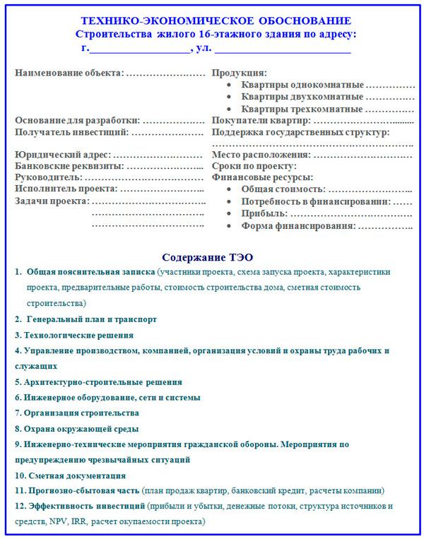 пример структуры ТЭО