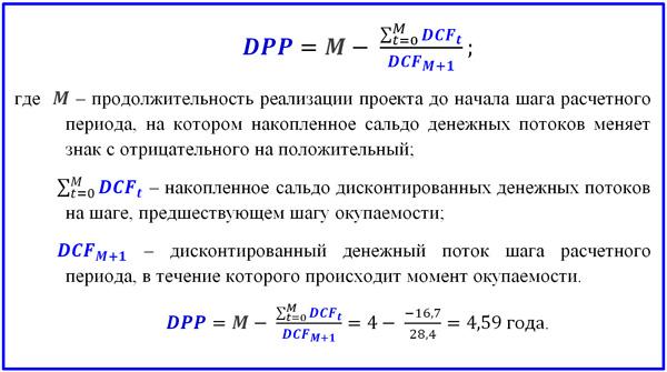 формула расчета периода окупаемости