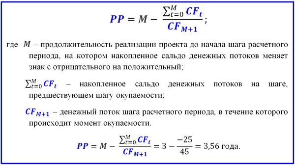 Срок окупаемости инвестиционного проекта формула