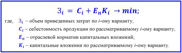 формула расчета с минимальным объемом затрат