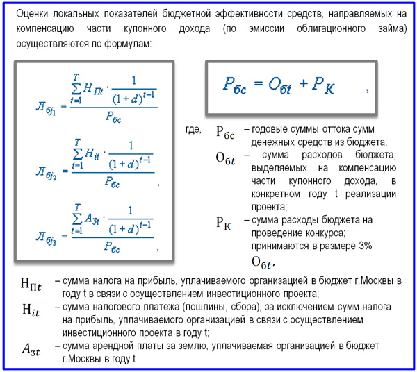 формулы показателей бюджетной эффективности проекта
