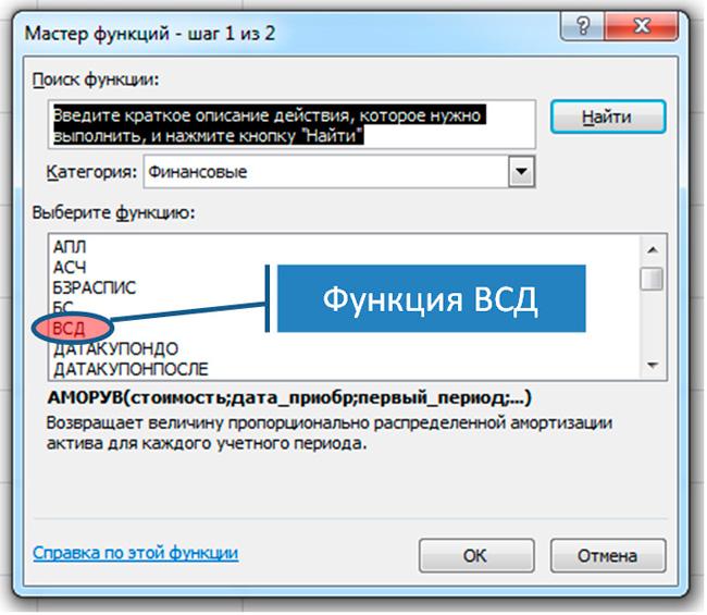 диалоговое окно мастера функций Excel