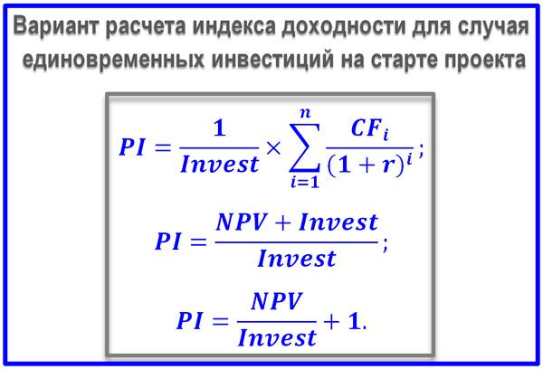 формула индекса рентабельности капитальных вложений