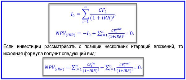 выражение перед формулой IRR