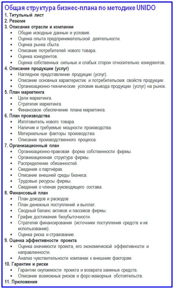 укрупненный состав разделов бизнес-плана ЮНИДО