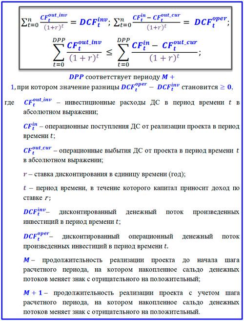 параметры для формулы DPP
