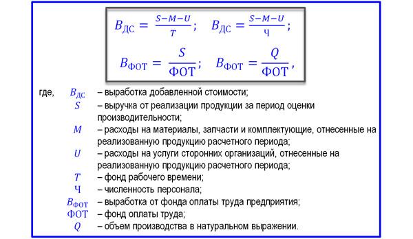 разные формулы выработки